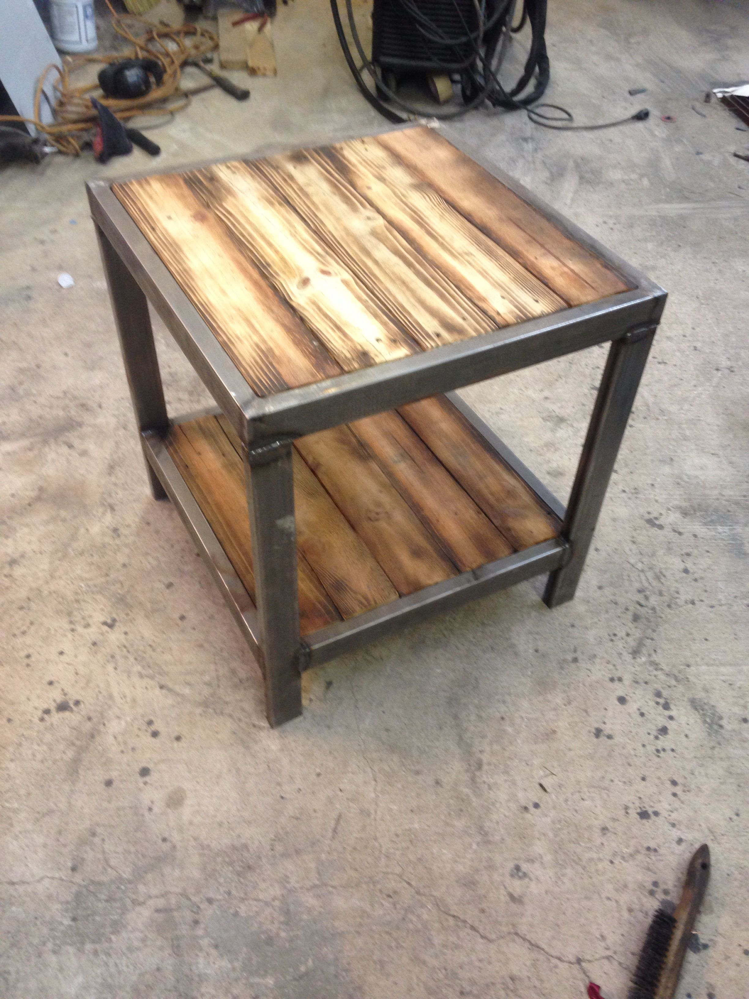 End Table Rustic Industrial Furniture Wood Furniture Design Refinishing Furniture Rustic metal and wood end tables