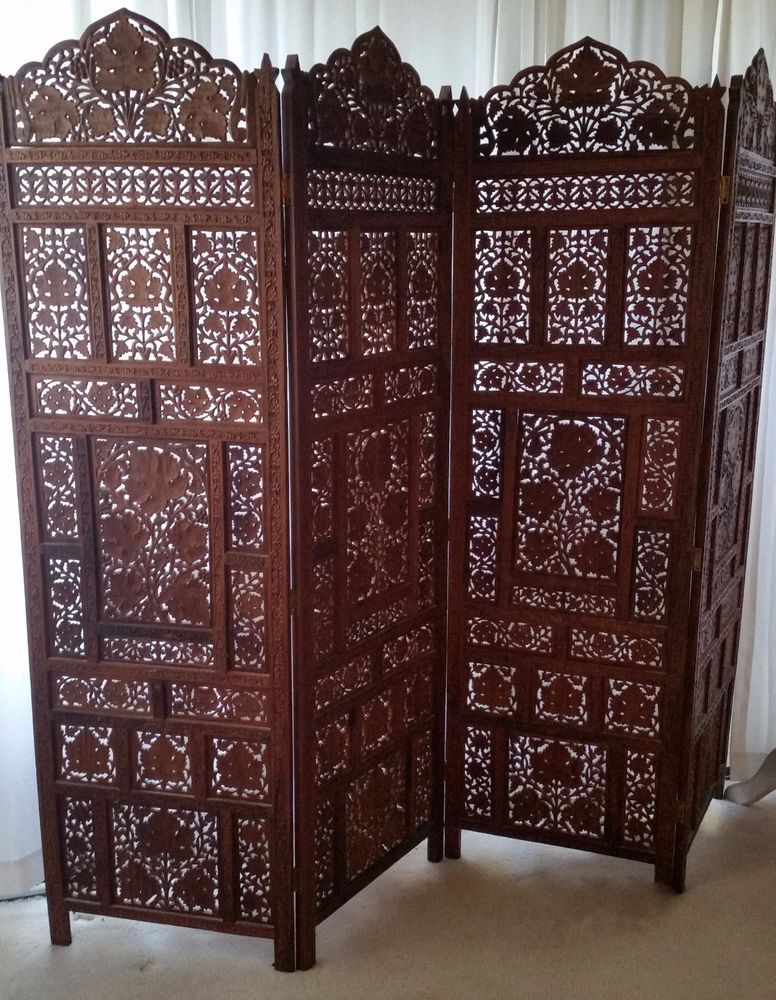 Antique Hand Carved Ivy Leaves Wood Four Panels Screen