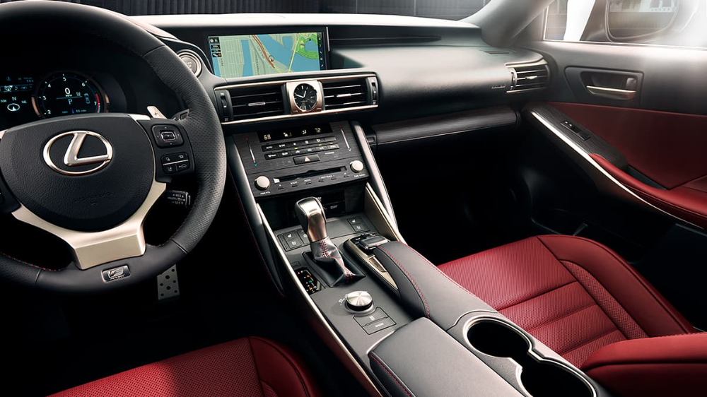 Interior Of The Lexus Is F Sport Shown With Rioja Red Nuluxe Trim Lexus Interior New Lexus Lexus