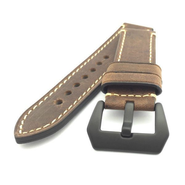 Vintage Dark Brown Crazy Horse Leather Watch Strap (Black PVD, 22mm, 24mm) #CozyAccessories
