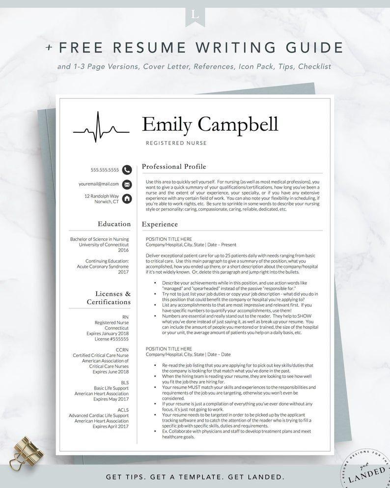 New Nurse Resume Template Registered Nurse Resume Template Etsy In 2021 Nursing Resume Template Medical Resume Template Teacher Resume Template