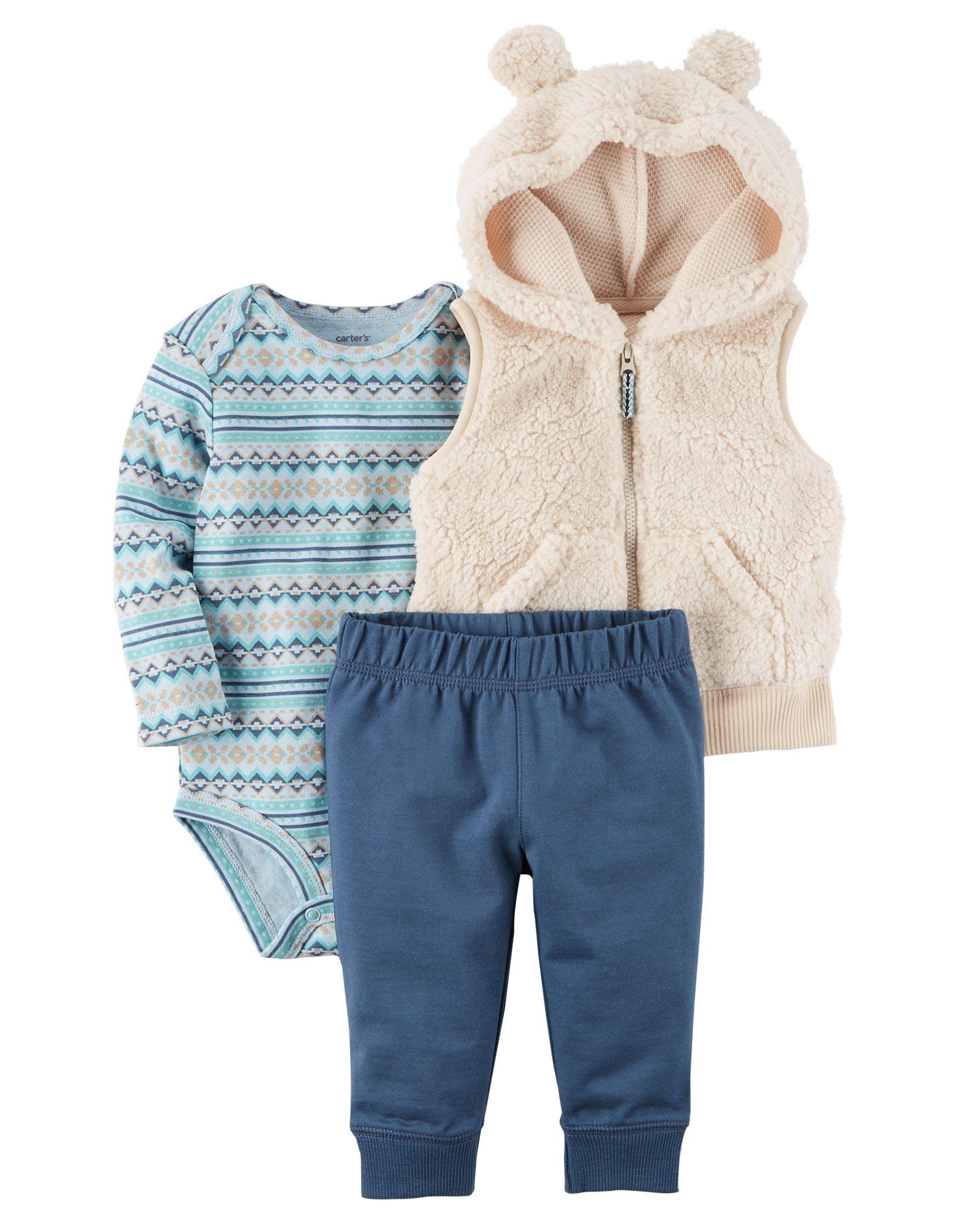 81d27e7f2 Carters Baby Boys 3 Piece Bear Vest Little Vest Set 3 months Ivory ...