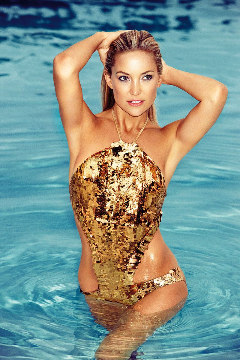 36f627fe9d Kate Hudson's Favorite Things December 2013, Gold Swimsuit, Metallic  Swimsuit, Gold Fashion,