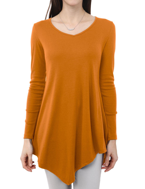 bb342673e851f5 Doublju Women's Long Sleeve Asymmetrical Tunic Shirt Casual Loose Trapeze  Tunic Top Shirt BEIGE 2XL Plus Size#Asymmetrical, #Tunic, #Shirt