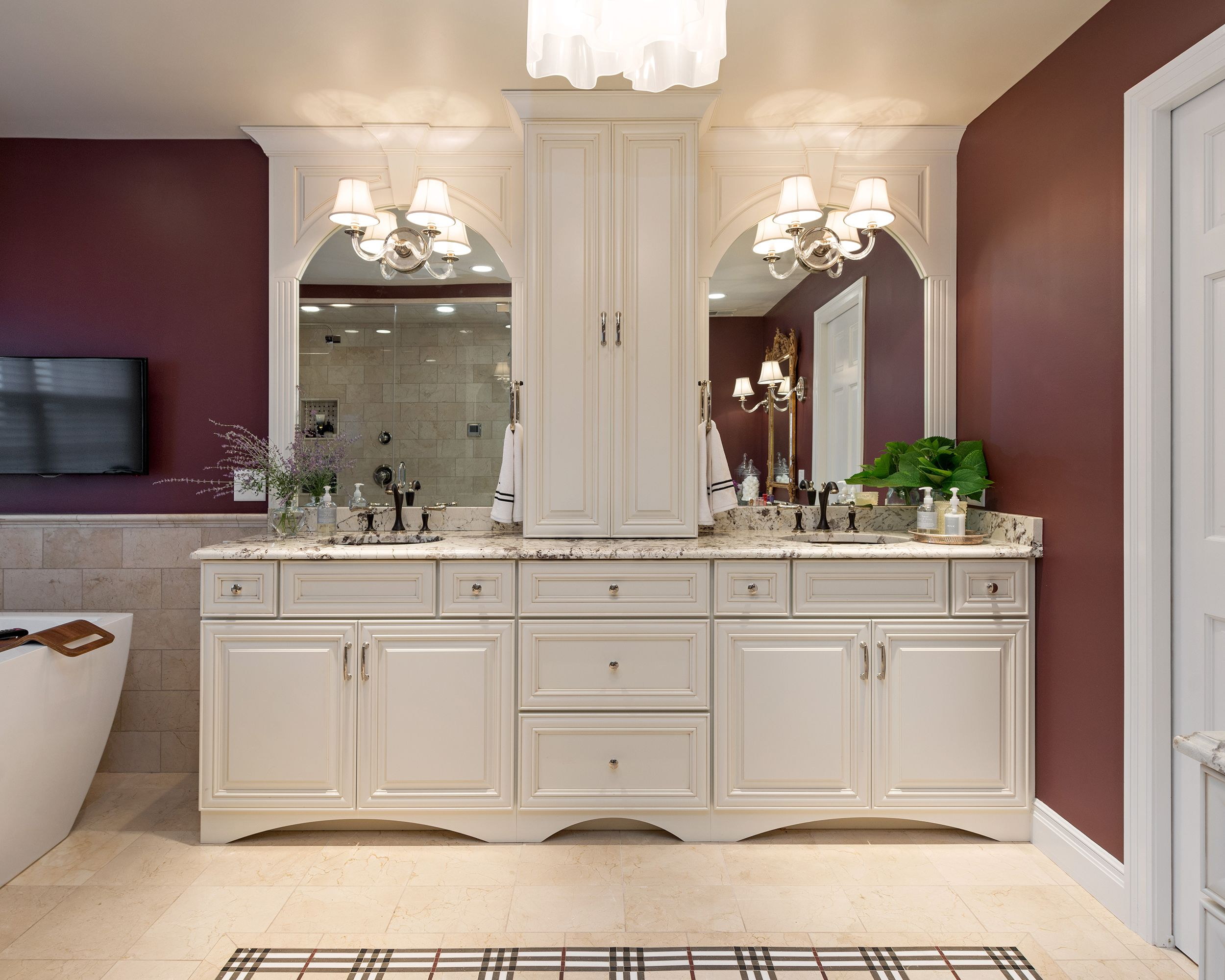 Webster Groves Master Bath DeSigNs By JoNi SpeAr Pinterest - Burgundy bathroom decor for small bathroom ideas