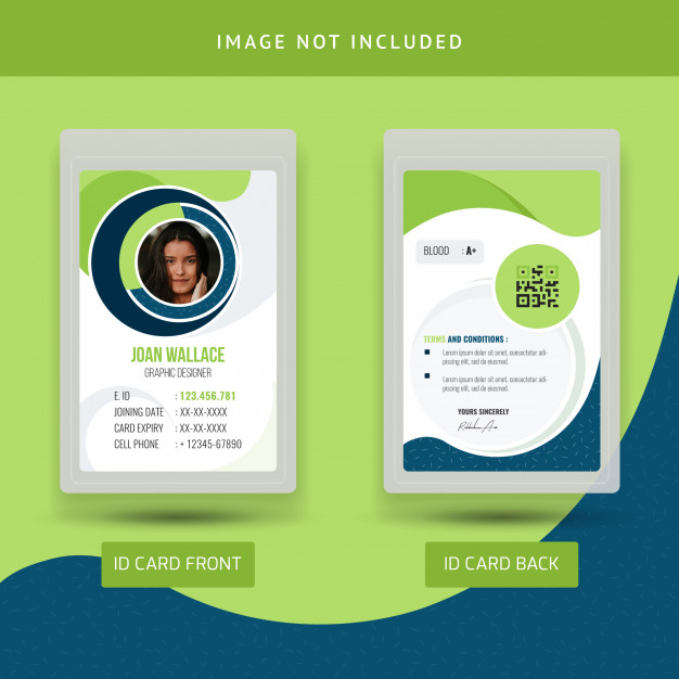 Green Abstract Office Id Card Template Id Card Template Colorful Business Card Business Cards Creative