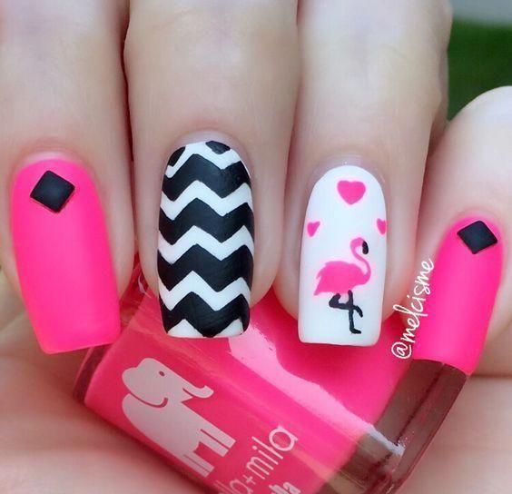 roze Flamingospijkers, ananas- en flamingospijkers; Flamingo's lente zomer nagel ar …