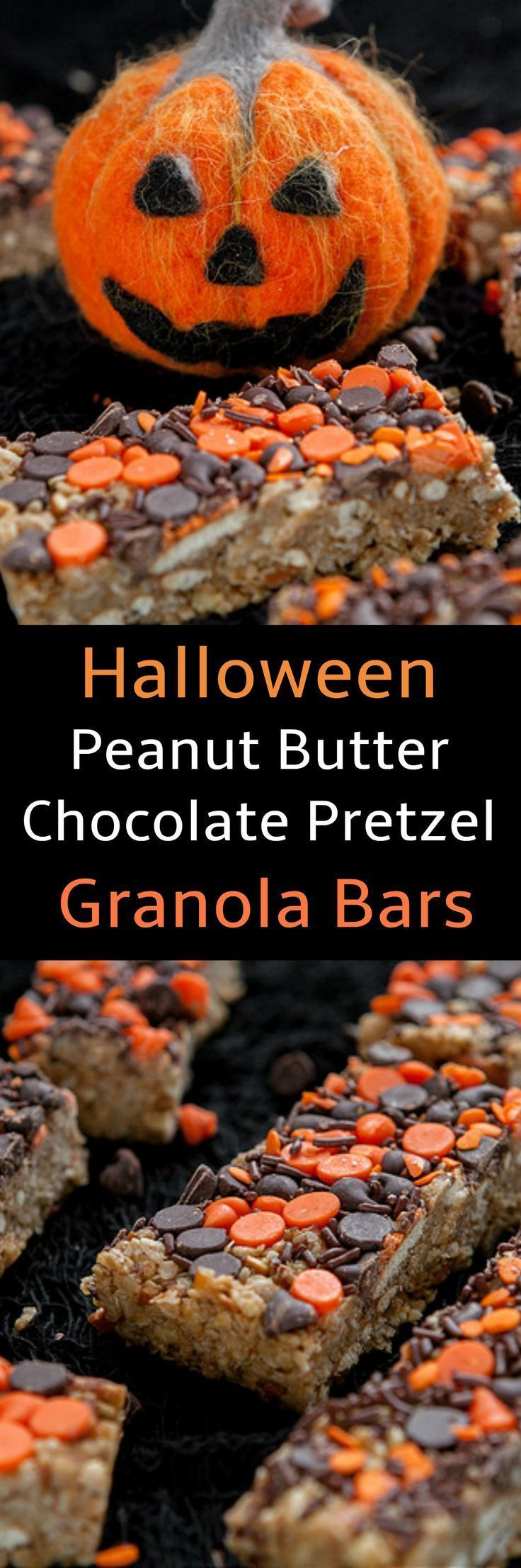 Halloween Peanut Butter Chocolate Chip Granola Bars  Halloween Decorated Peanut Butter Chocolate Chip Pretzel Granola Bars! These are great for snacks breakfast and Halloween parties! Use black and orange chocolate chip morsels to make them festive looking!  Source by itsyummi #halloweenbreakfastforkids Halloween Peanut Butter Chocolate Chip Granola Bars  Halloween Decorated Peanut Butter Chocolate Chip Pretzel Granola Bars! These are great for snacks breakfast and Halloween parties! Use black a #halloweenbreakfastforkids