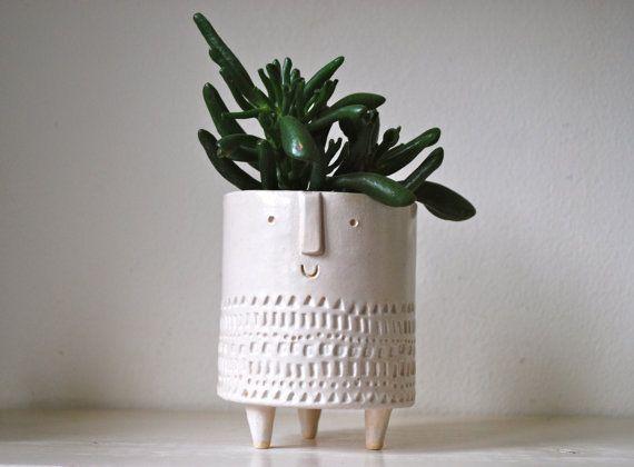 Small Tripod Planter In Shiny White Glaze Decor Stoneware Clay Ceramic Clay