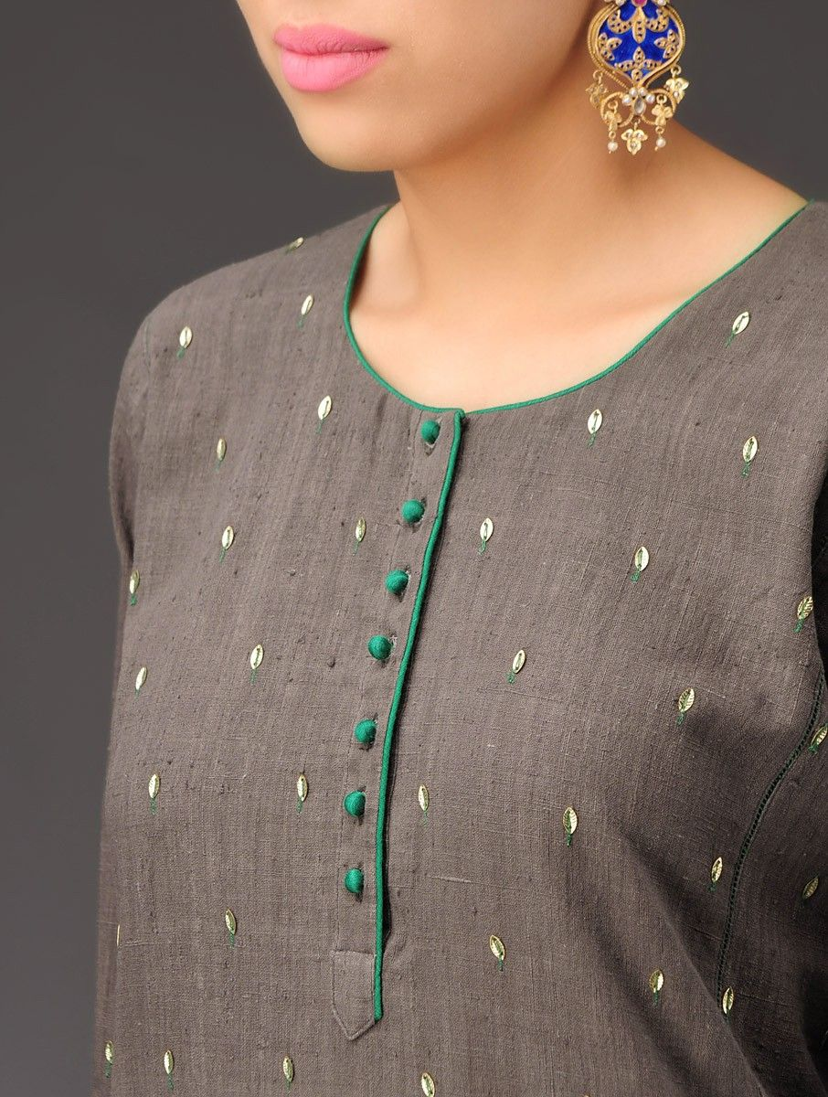Buy Clay Grey Sequined Embroidered Panel Khadi Kurta Online | Outfit ...
