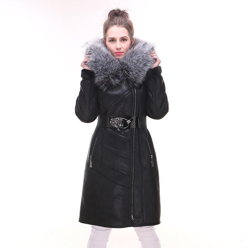 201ea58e59f5 Factory direct supply Natural real fox fur collar Slim Women s coat Fake fur  suede Winter jacket