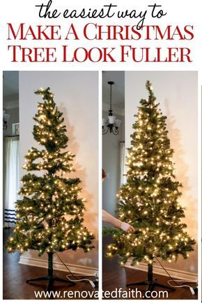 Make a Christmas Tree Look Fuller – Step 2 made all the difference! Ideas on how to decorate and add ribbon to a Christmas tree on a budget. Decorate your tree like a pro in just a few easy steps. Works with mesh, garland, tulle and ribbon, even burlap for a beautiful tree through the holidays! #christmastree #christmasdecor
