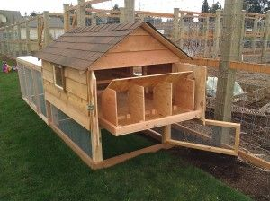 These are THE BEST chicken coops I have ever come across. Built by the Chicken Gardener out of Eugene Oregon, they have an entire range of products, including compost bins, benches, and garden storage; all made from top quality cedar.
