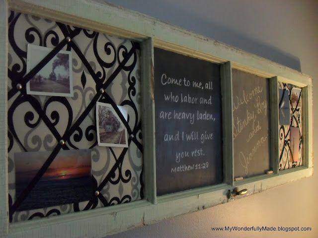 """Wonderfully Made"": Window Frame Memo  and chalk board"