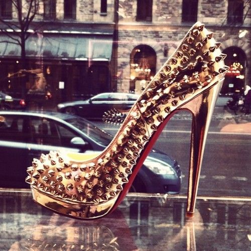 studded christian louboutin altis in gold #shoeporn