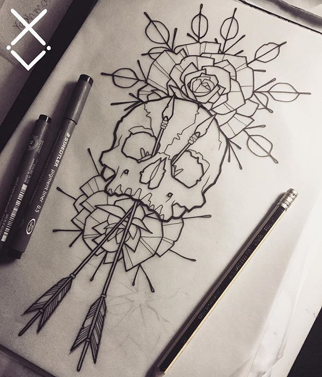 Today S Design Skull Roses Arrows Drawing Flash Tattoo Tattooapprentice Lines Linework Dotwork B Inspirational Tattoos Black Tattoos Tattoo Drawings