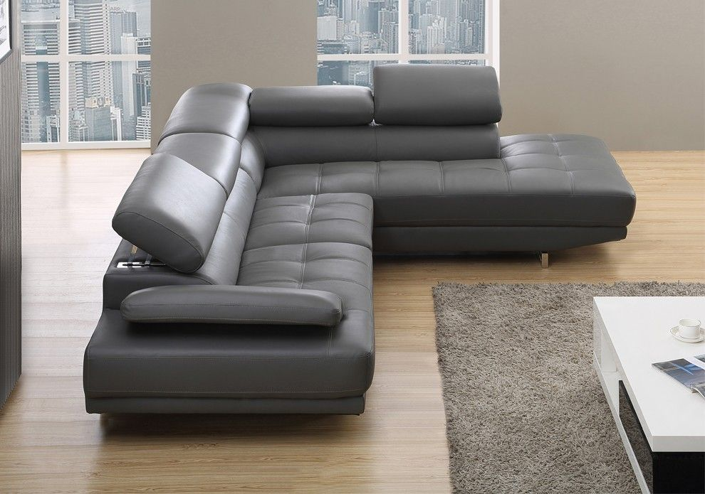 Milano Stylist Modern Grey Leather Corner Sofa Right X2f Hand Leather Corner Sofa Corner Sofa Leather Sofa Living Room