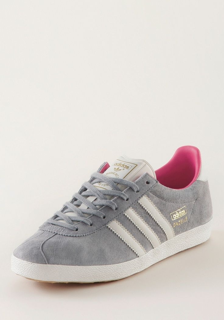 Went through pair of these in high school: ADIDAS Gazelle OG Suede grey &  white (no pink)