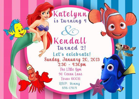 fc86de5ae79bbbe39b94ebc112c1d055 ariel the little mermaid finding nemo duel birthday invitation,Little Mermaid Birthday Invitations