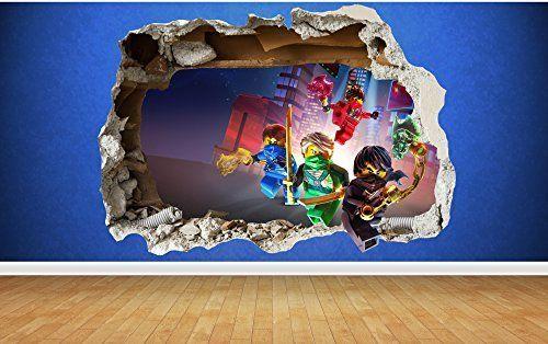 lego ninjago 3d style smashed wall sticker kids childrens bedroom