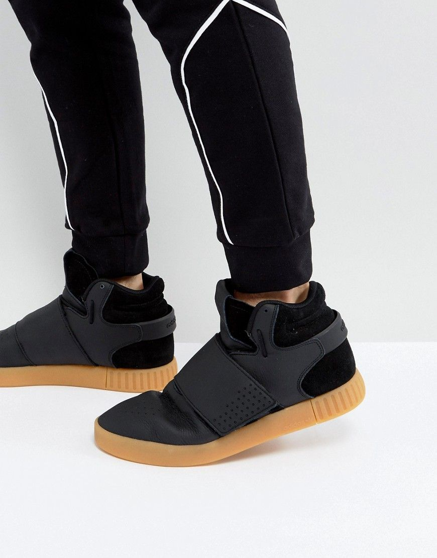 d9f9d49e9982 ADIDAS ORIGINALS TUBULAR INVADER STRAP SNEAKERS IN BLACK BY3630 - BLACK.   adidasoriginals  shoes