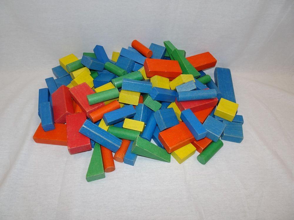 Vintage Colored Wooden Building Blocks Lot Of 131 Kids Playskool Red