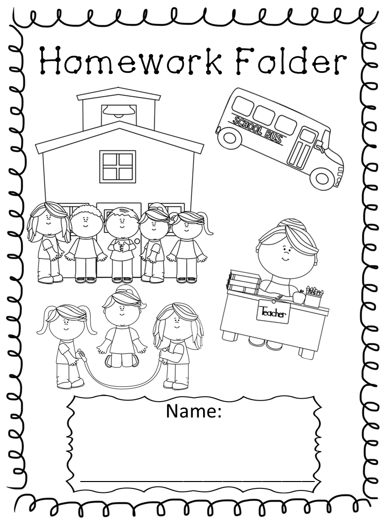 Homework Book Cover Ideas : Kindergarten homework folder reference sheets black and