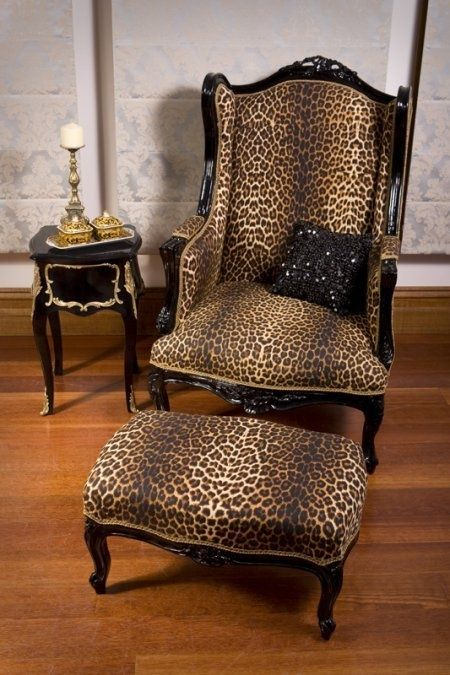 Exceptional Black Gloss Frame Wing Back Chair And Stool Covered In Leopard Print Fabric  . Would Look Wonderful In A Variety Of Room Schemes, Very Glamorous .