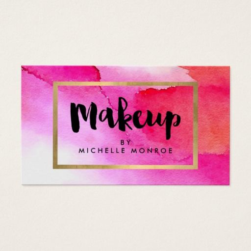 Bold pink watercolors makeup artist business card reheart Gallery