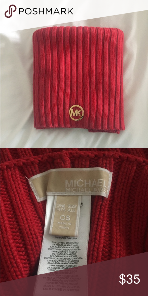dc0718516030 Cowle Neck Scarf A red infinity scarf by MICHAEL Michael Kors. Has a cute  gold MK emblem on the front. Perfect to wear with a peacoat.