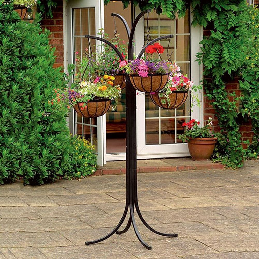 Flower Garden Stand 4 Hanging Plant Pot Holder Patio Decor Home Outdoor Display Plants For Hanging Baskets Garden Plant Stand Hanging Plants