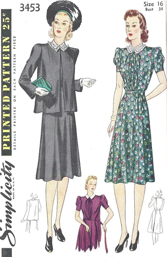 1940s Maternity Dress and Jacket | Pattern | Pinterest | 40 jahre ...