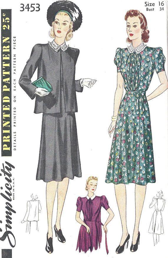 1940s Maternity Dress and Jacket | Pattern | Pinterest | 40 jahre ...