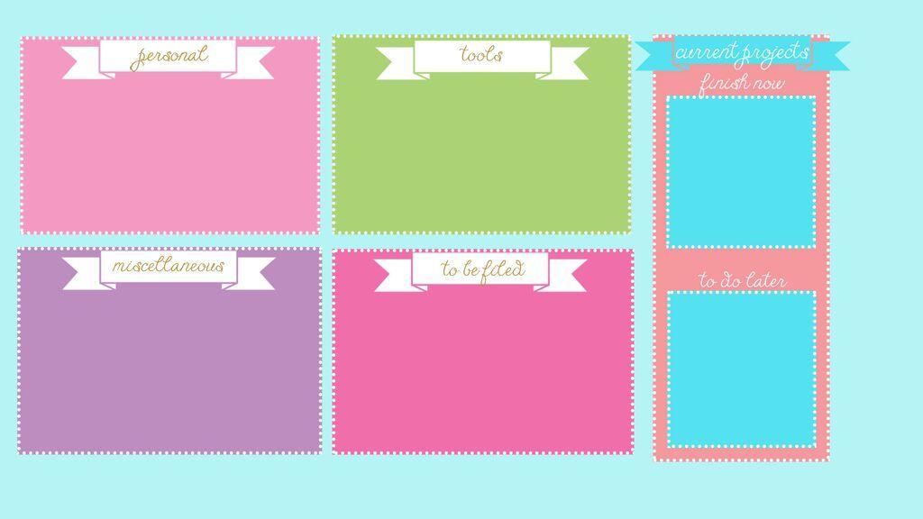 Wall Paper Organizer pink blue turquoise lilac green desktop wallpaper organizer