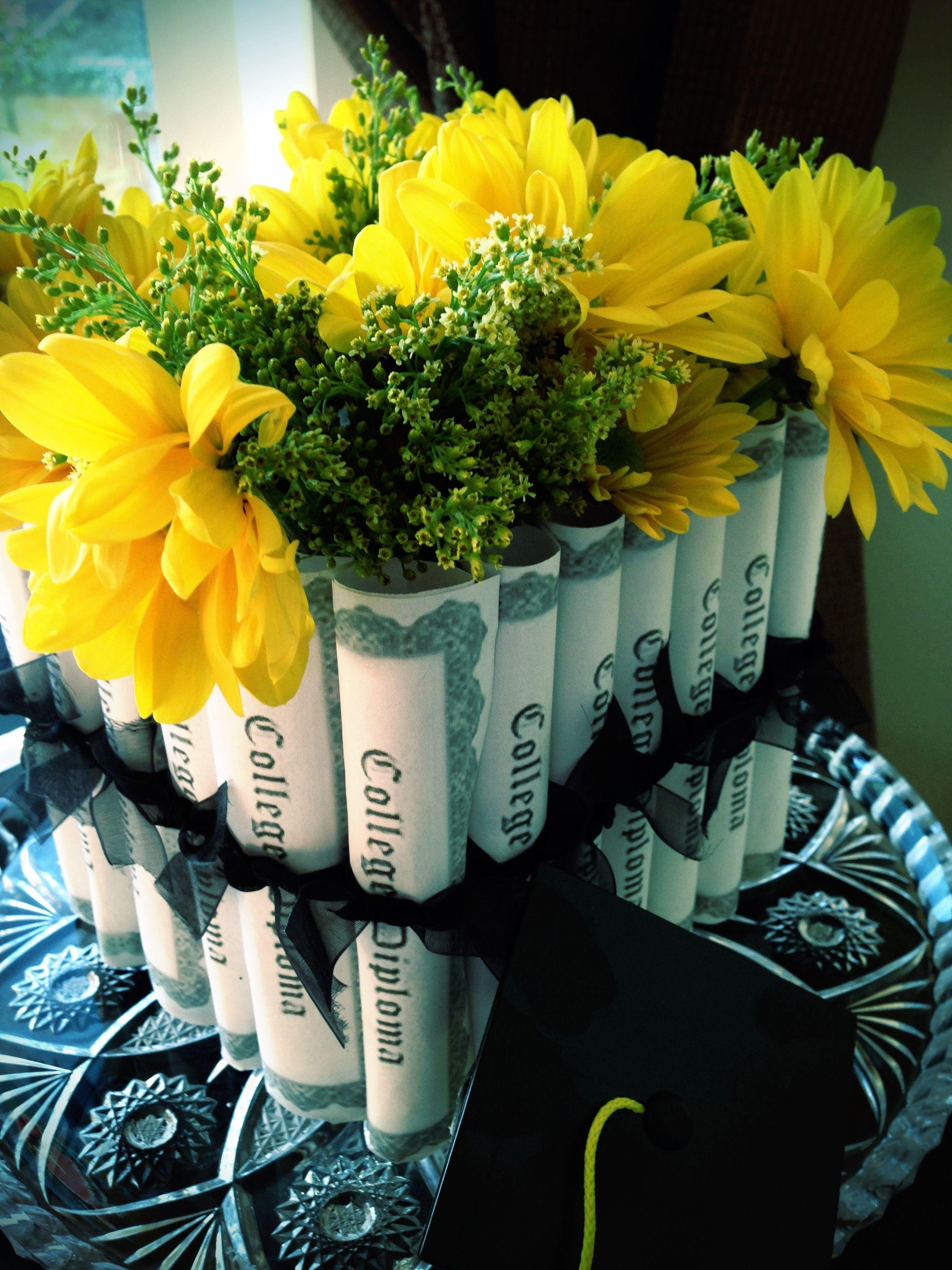 Graduation flower arrangements with matching monogrammed cards in graduation arrangement izmirmasajfo