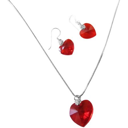 Price   10.99 Lite Siam Red Crystals Xilion Heart Valentine Necklace   Earrings  Set Material Used   Swarovski Lite Siam Red crystal Xilion Heart - 14mm for  ... 44023af5a0