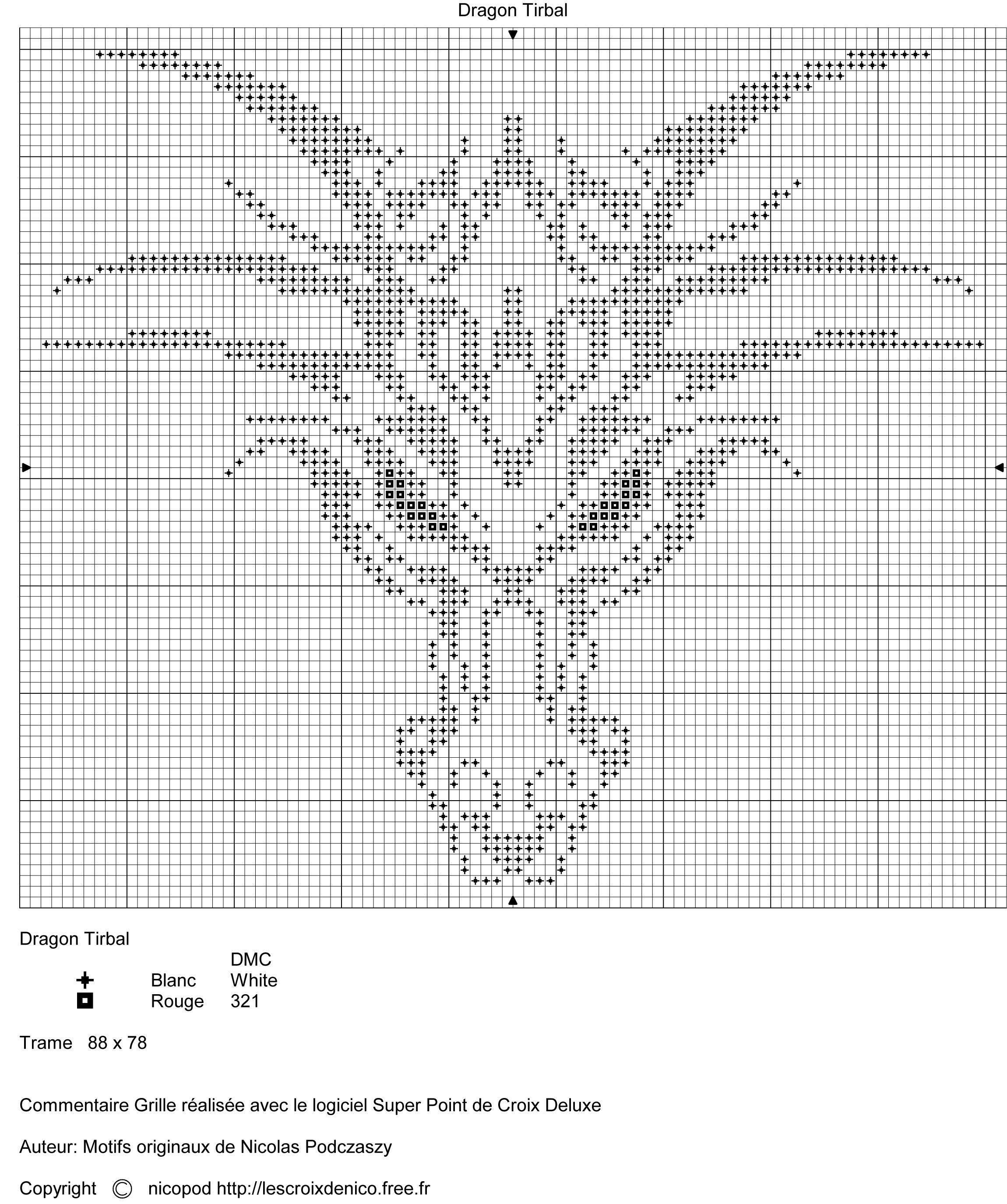 dragon, head, pattern, medium, complex, cross-stitch, tribal design ...