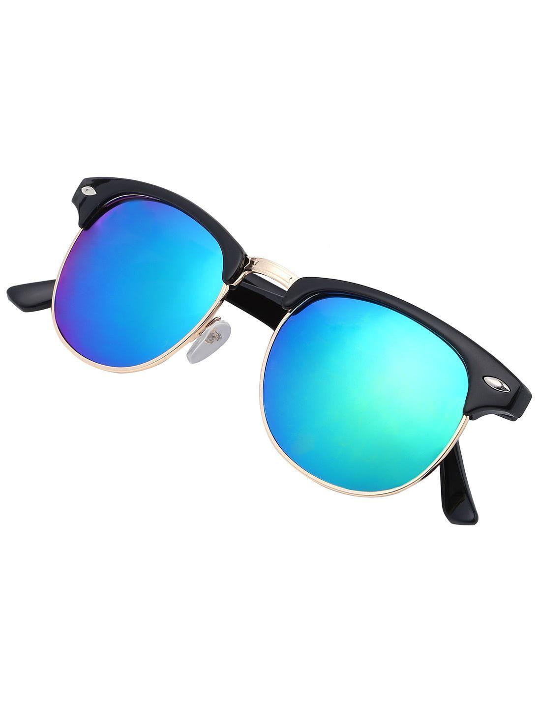 Browline Frame Mirrored Lenses Sunglasses | Beauty & Style | Pinterest