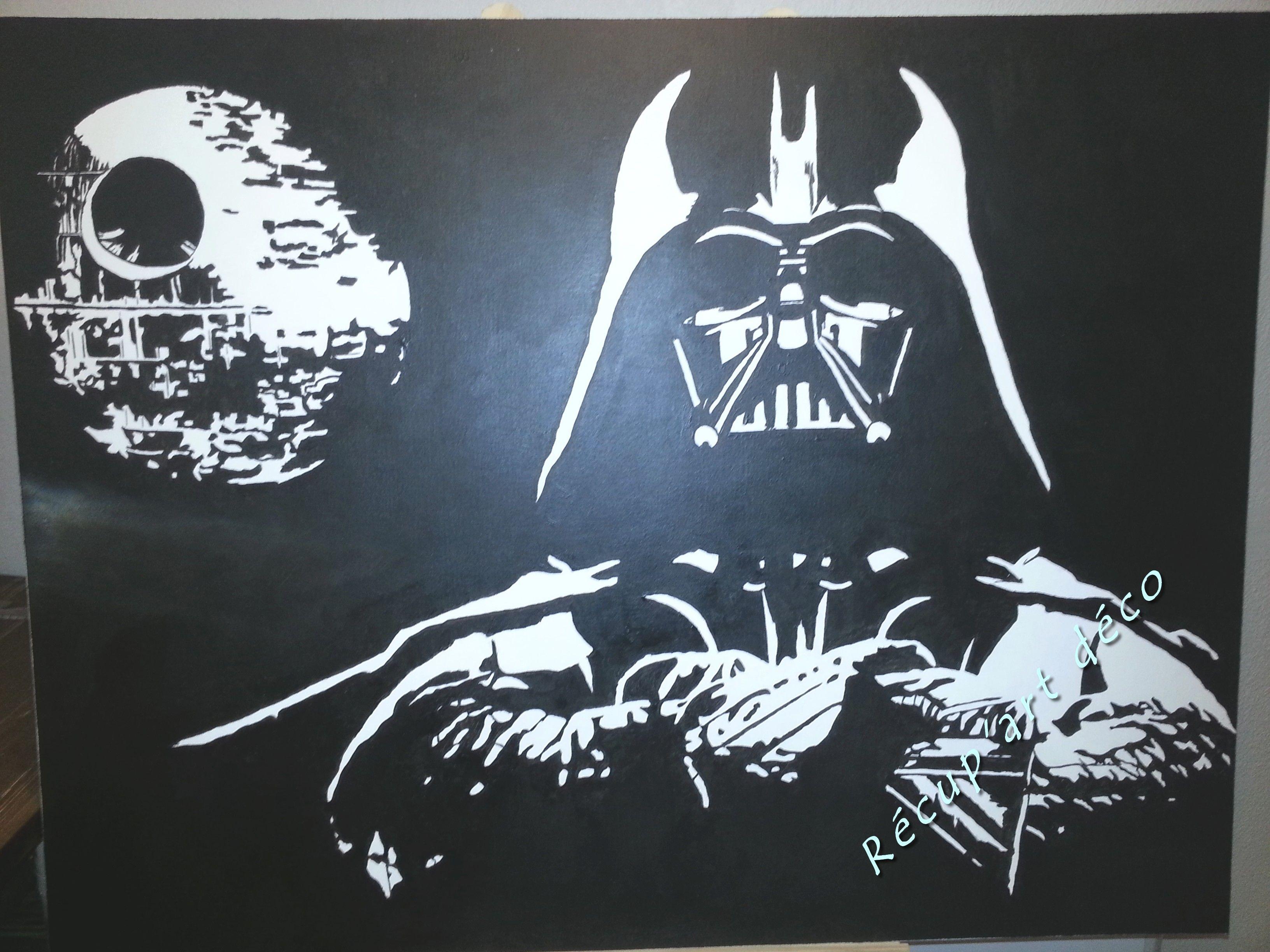 Dark Vador Et Létoile Noire Peinture Sur Toile Noir Blanc