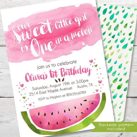 watercolor watermelon birthday invitation, printable watermelon,