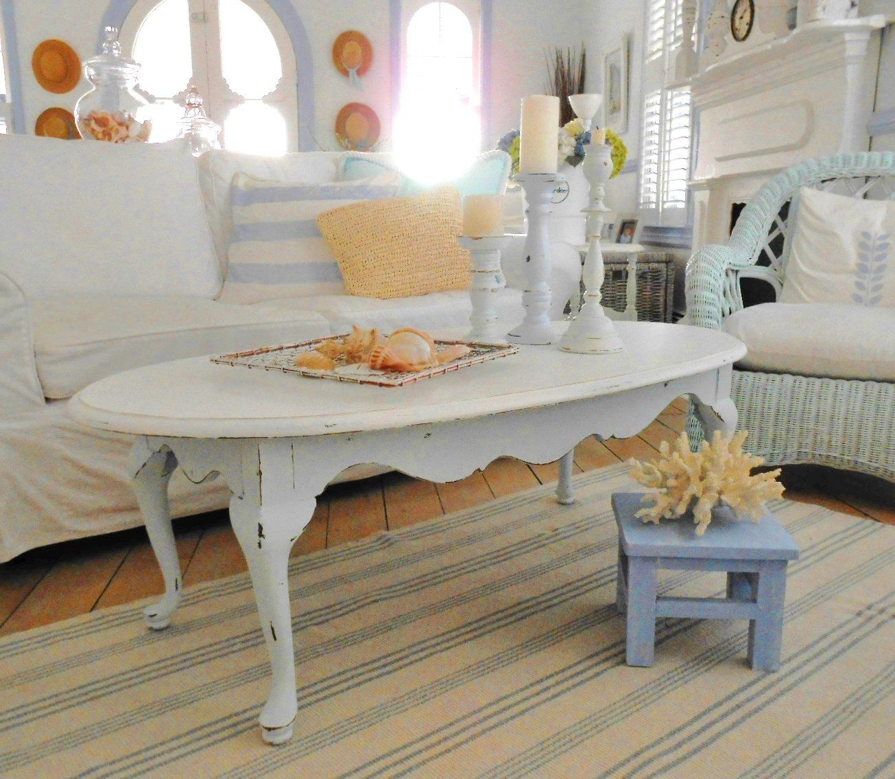 Coffee Table Shabby Chic Furniture Painted Beach Cottage Shabby Chic Furniture Furniture Shabby Chic Coffee Table