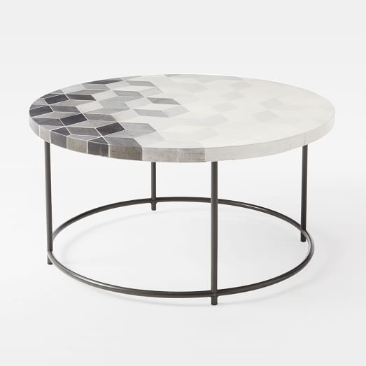 Mosaic Tiled Outdoor Coffee Table   Isometric Concrete/Weathered Wood