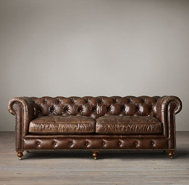 The Pee Kensington Leather Sofas 84 In Glove 2795 Restoration Hardware