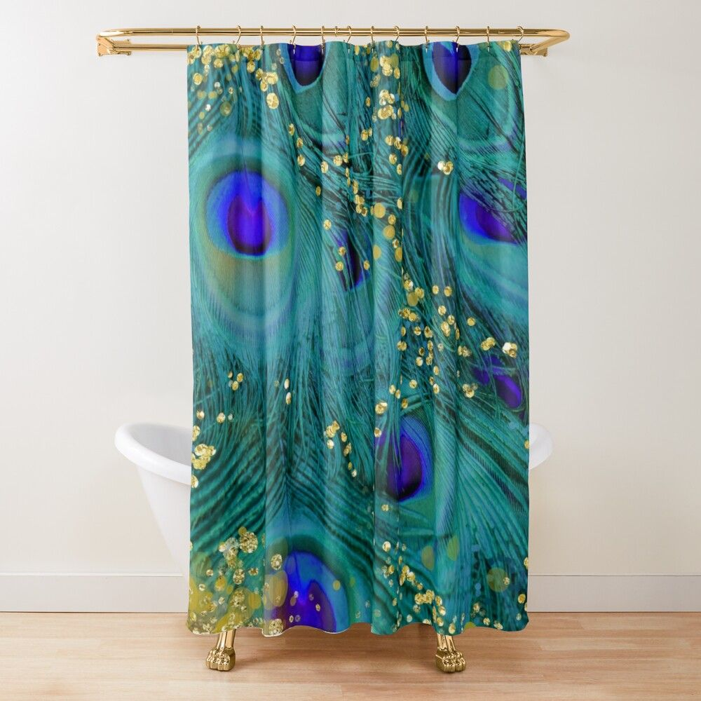 Dreamy Peacock Feathers Teal And Purple Glimmering Gold Shower