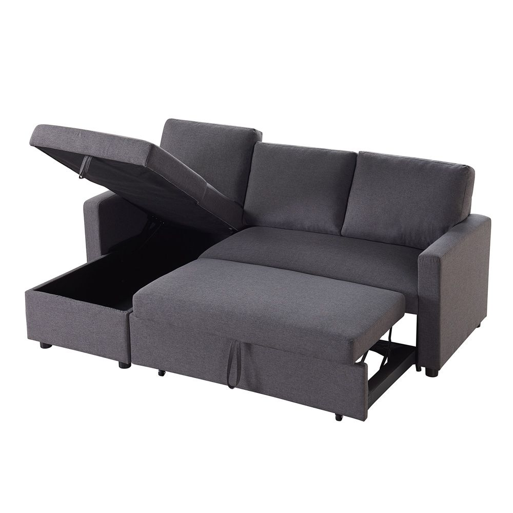 Merton 3 Seater Corner Storage Futon Sofa Bed - Tweed | Home & DIY ...