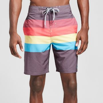 Men's Retro Stripe Board Shorts Red - Trinity Collective