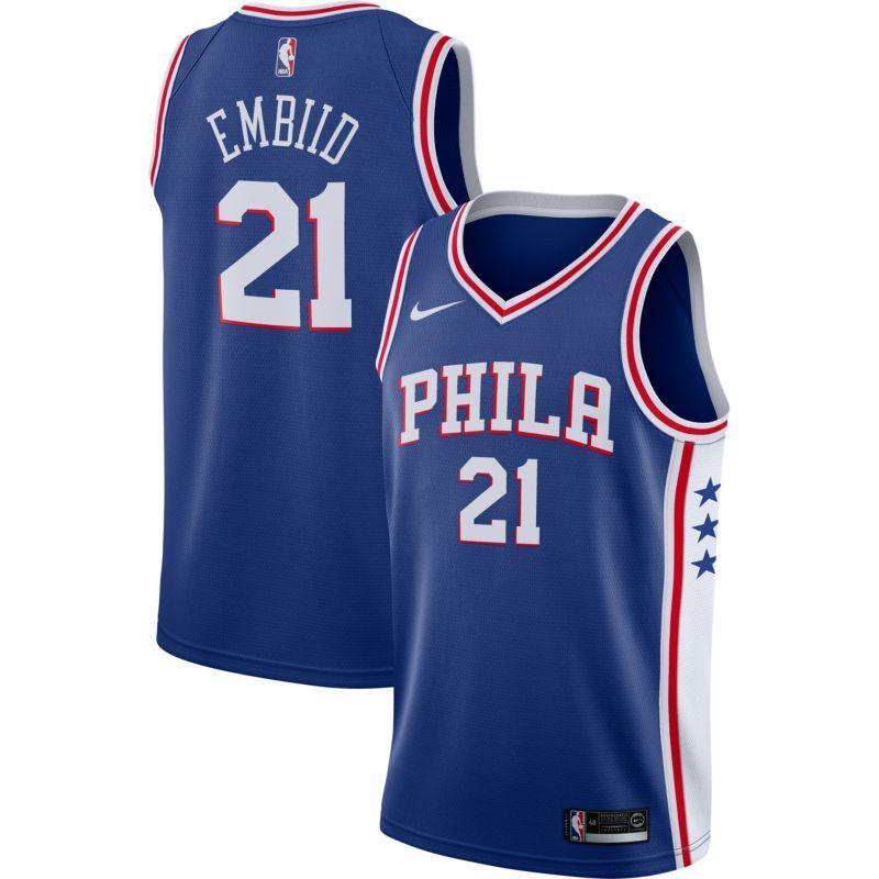 Nike Men s Philadelphia 76ers Joel Embiid  21 Royal Dri-FIT Swingman Jersey 0bbe9a24b