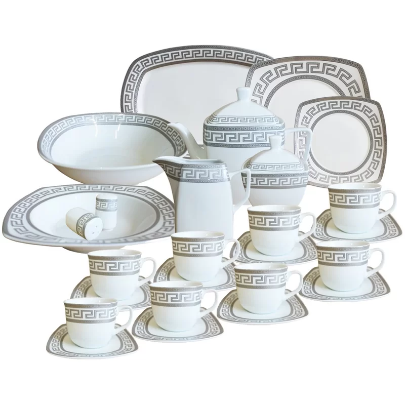 Emelina 47 Piece Dinnerware Set Service For 8 Square Dinnerware Set Dinnerware Sets Dinnerware Set