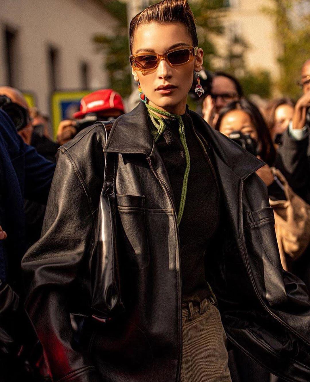 Photo Via Bellahadid Wearing Svc Vintage Leather Jacket During Pfw Svcstyle Bella Hadid Outfits Hadid Style Bella Hadid Style [ jpg ]