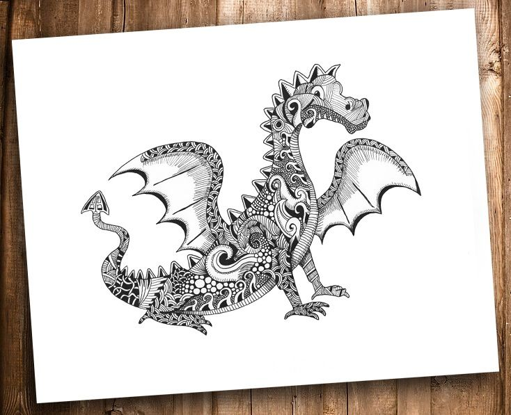 The Ornate Dragon by Squidoodle *Dragon Fantasy Myth Mythical Mystical Legend Dragons Wings Sword Sorcery Magic Drache drago Дракон  drak dragão coloring page for adults Kleuren voor volwassenen Färbung für Erwachsene coloriage pour adultes colorare per adulti para colorear para adultos раскраски для взрослых omalovánky pro dospělé colorir para adultos färgsätta för vuxna farve for voksne väritys aikuiset difficult schwierig difficile difficile difícil трудно  těžké  difícil vårt detailed…